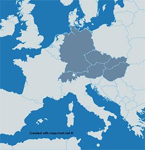 Karte D-A-CH und Slowakei, Tschechien und Ungarn